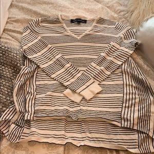 Black White Stripe French connection V Neck Sweate